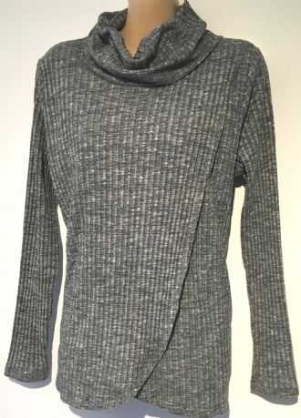 BLOOMING MARVELLOUS GREY ROLL NECK NURSING JUMPER TOP SIZE 16